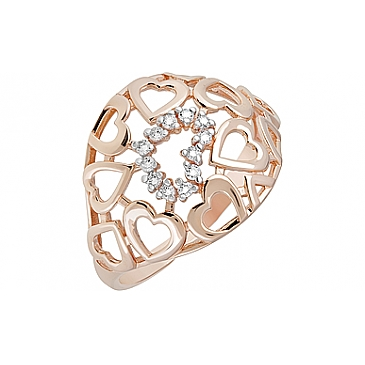 Кольцо с фианитами из красного золота 123830