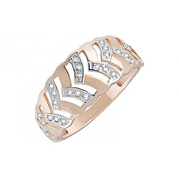 Кольцо с фианитами из красного золота 123836