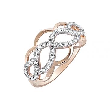 Кольцо с фианитами из красного золота 123837