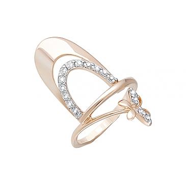 Кольцо с фианитами из красного золота 124382
