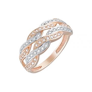 Кольцо с фианитами из красного золота 126130