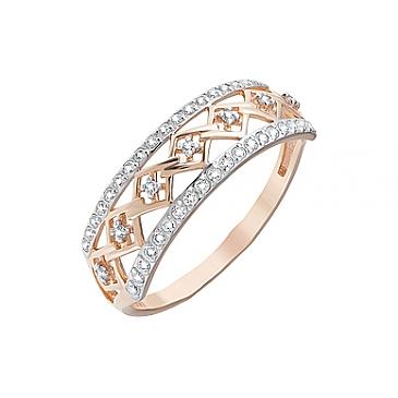 Кольцо с фианитами из красного золота 126393 от EVORA