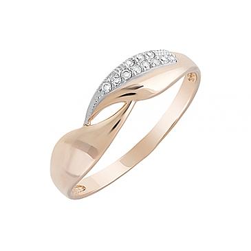 Кольцо с фианитами из красного золота 126662
