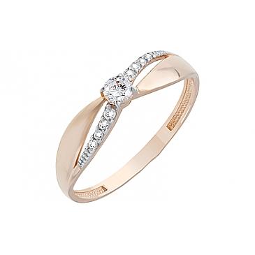 Кольцо с фианитами из красного золота 126665