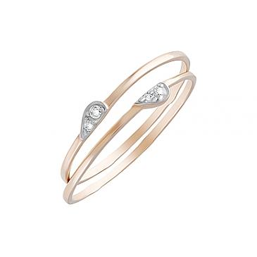 Кольцо с фианитами из красного золота 126670