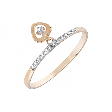Кольцо с фианитами из красного золота 126673