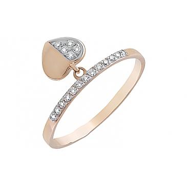 Кольцо с фианитами из красного золота 126674
