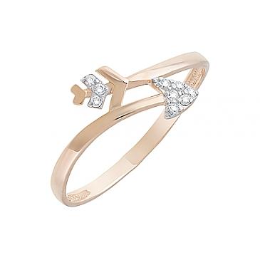 Кольцо с фианитами из красного золота 126676