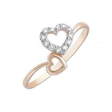 Кольцо с фианитами из красного золота 126683