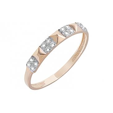 Кольцо с фианитами из красного золота 126684