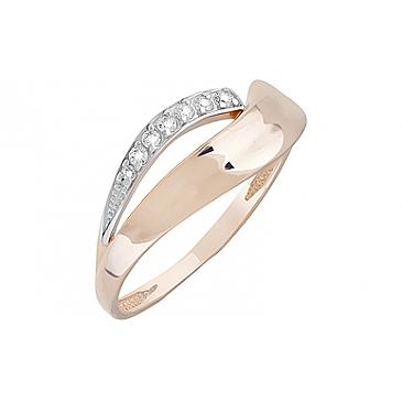 Кольцо с фианитами из красного золота 126685