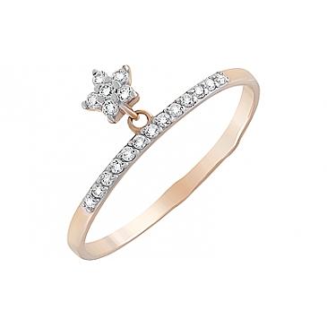 Кольцо с фианитами из красного золота 126686