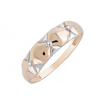 Кольцо с фианитами из красного золота 126690