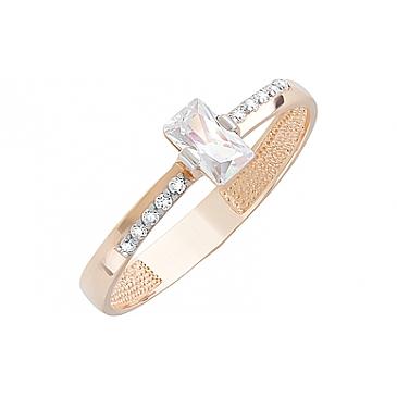 Кольцо с фианитами из красного золота 126677