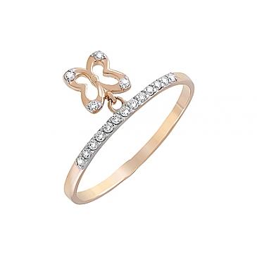 Кольцо с фианитами из красного золота 126687