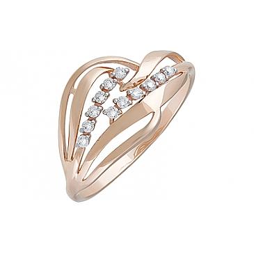 Кольцо с фианитами из красного золота 127394