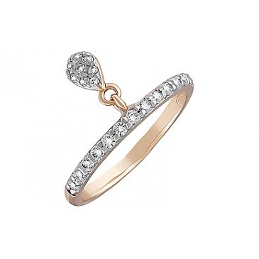 Кольцо с фианитами из красного золота 127395