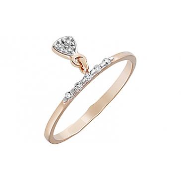 Кольцо с фианитами из красного золота 127398