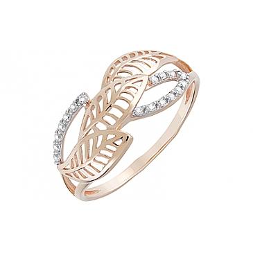 Кольцо с фианитами из красного золота 128439