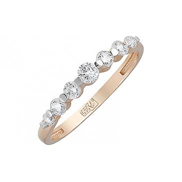 Кольцо с фианитами из красного золота 126092