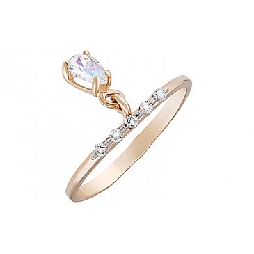 Кольцо с фианитами из красного золота 127396