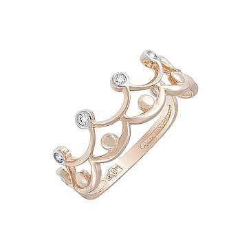 Кольцо с фианитами из красного золота 127483