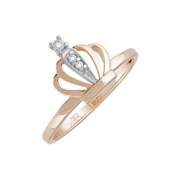 Кольцо с фианитами из красного золота 127830