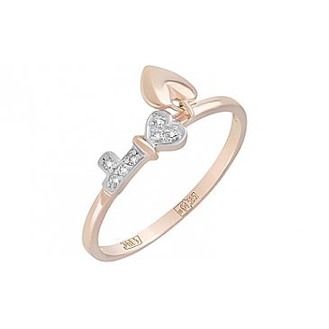 Кольцо с фианитами из красного золота 127979