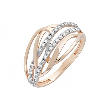 Кольцо с фианитами из красного золота 128800