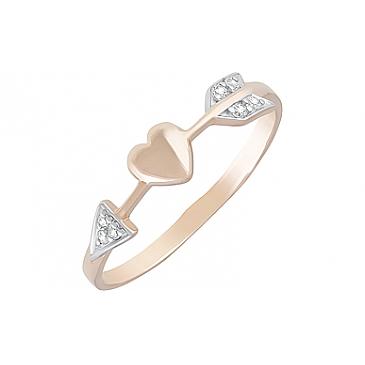 Кольцо с фианитами из красного золота 129034
