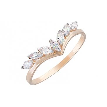 Кольцо с фианитами из красного золота 129056
