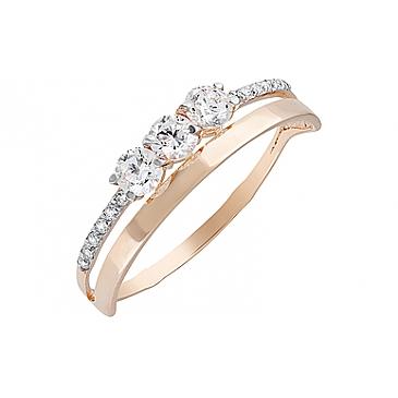 Кольцо с фианитами из красного золота 129986