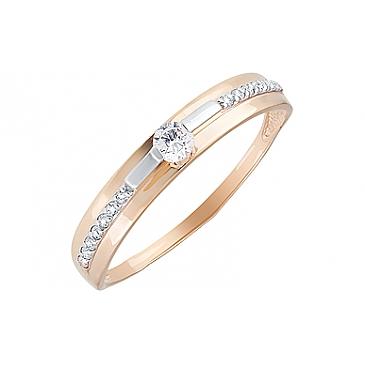 Кольцо с фианитами из красного золота 129994