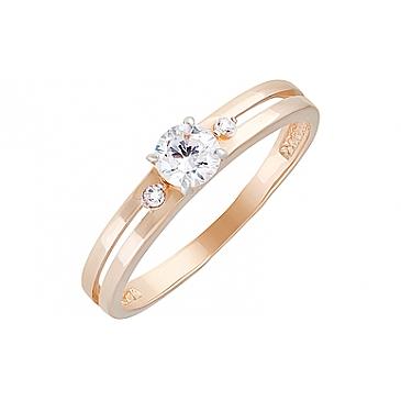 Кольцо с фианитами из красного золота 129995