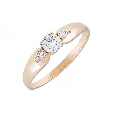 Кольцо с фианитами из красного золота 130000