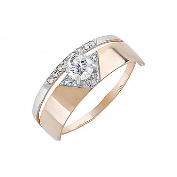 Кольцо с фианитами из красного золота 131949