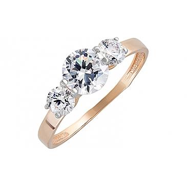 Кольцо с фианитами из красного золота 131930