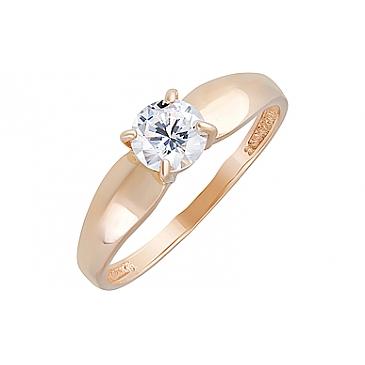 Кольцо с фианитами из красного золота 131932
