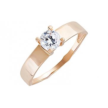 Кольцо с фианитами из красного золота 131933