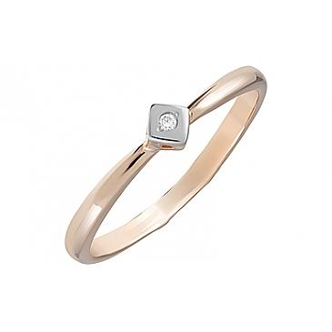 Кольцо с фианитом из красного золота 126391