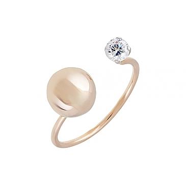 Кольцо с фианитом из красного золота 126660