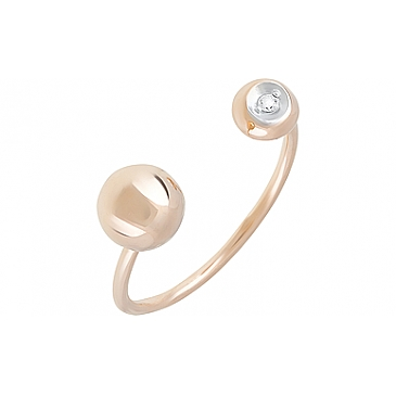 Кольцо с фианитом из красного золота 126675
