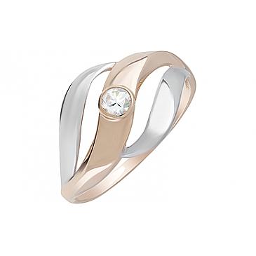 Кольцо с фианитом из красного золота 127980