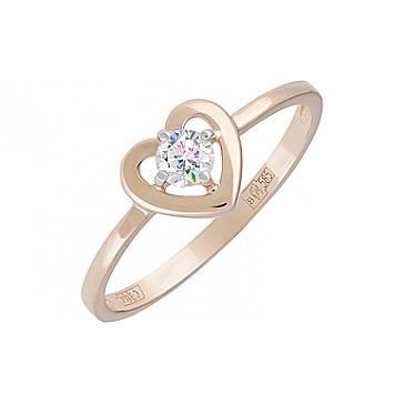 Кольцо с фианитом из красного золота 129180