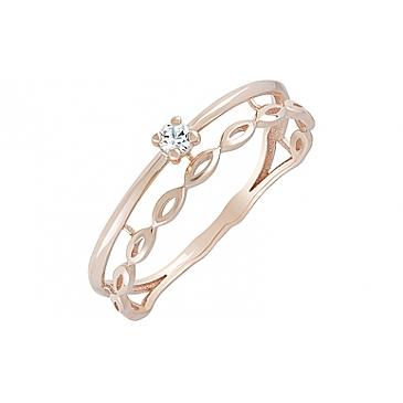 Кольцо с фианитом из красного золота 128799