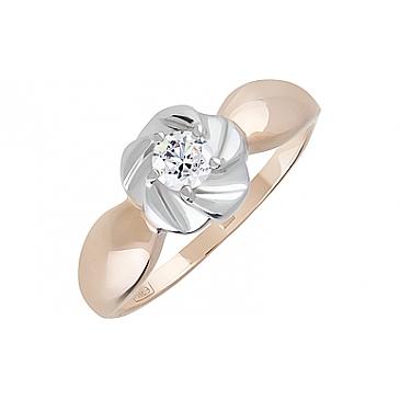 Кольцо с фианитом из красного золота 128362 от EVORA