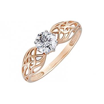 Кольцо с фианитом из красного золота 129815