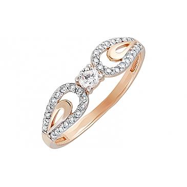 Кольцо с фианитом из красного золота 129817