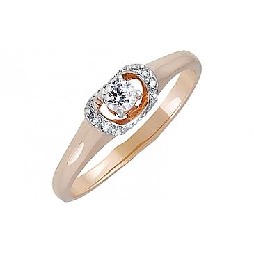 Кольцо с фианитом из красного золота 132139