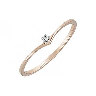 Кольцо с фианитом из красного золота 133798